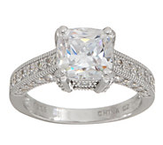 Diamonique Milgrain Cushion Cut Ring, Platinum Clad - J351263