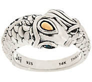 As Is JAI Sterling & 14K Andaman Sea Koi Ring with Blue Topaz Eyes - J353963