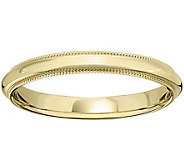 Mens 14K Yellow Gold 3mm Milgrain Wedding Band - J375563