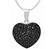 Stainless Steel Crystal Heart Pendant with Chain - J376363