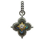 Barbara Bixby Sterling & 18K Gemstone Doublet Flower Pendant - J384263