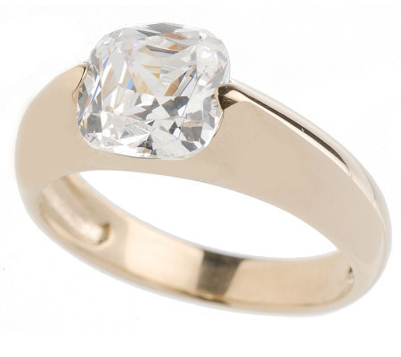 diamonique 2 ct cushion cut tension set ring 14k gold