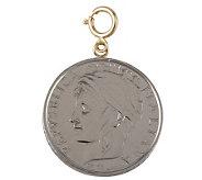 1-1/4&quot 100-Lire Coin Charm, 14K Gold - J110564