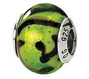 Prerogatives Sterling Green & Black Italian Murano Glass Bead - J111564