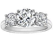 Diamonique 3.50 cttw 3 Stone  Ring, Platinum Clad - J111664
