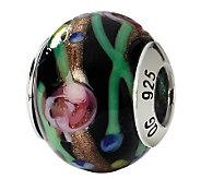 Prerogatives Sterling Black & Floral Italian Murano Glass Bead - J111764