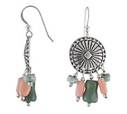 Southwestern Sterling Concho Earrings with Coral and Turquois - J113064