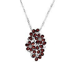 16.20 ct tw Mozambique Garnet Cluster Floral Design Sterling Slide