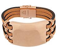 Bronze Bold Multi-Strand Leather Bracelet by Bronzo Italia - J287264