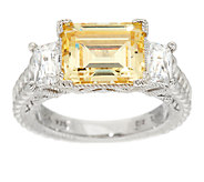 Judith Ripka Sterling 6 cttw Yellow & White Diamonique Open Gallery Ring - J293764
