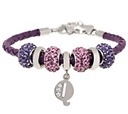 Stainless Steel Purple Leather Bracelet with Initial and Crystal Station - J294264