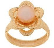 EternaGold 7.0mm Cultured Pearl Textured Flower Ring, 14K Gold - J294364