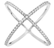 Diamonique 4/10 cttw Pave X Ring Sterling or 18K - J296664