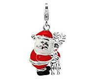 Amore La Vita Sterling Dimensional Santa and Reindeer Charm - J307764