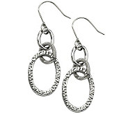 Stainless Steel Polished & Textured Oval Dangle Earrings - J310464