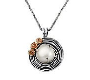 Or Paz Sterling Cultured Pearl Round Textured Pendant w/ Chai - J311564