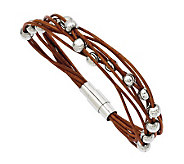 Stainless Steel 7-1/2 Brown Leather Bead Bracelet - J313264