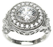 Judith Ripka Sterling Diamonique Round Halo Butteryfly Ring - J313964