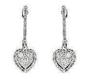 Diamond Hoop w/ Heart Dangle Earrings, 14K, 1/2by Affinity - J315664
