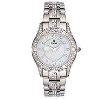 Bulova Ladies Stainless Steel Crystal AccentedBracelet Watch