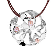Hagit Sterling Cultured Pearl Swirled Pendant w / Leather Cord - J316864
