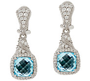 Judith Ripka Sterling 6.65ct Blue Topaz & Diamonique Earrings - J317764