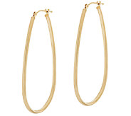 14K Gold 1-3/4 Polished Elongated Oval Hoop Earrings - J318864