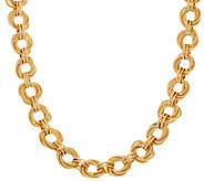 14K Gold 20 Textured & Polished Wrapped Oval Necklace, 31.5g - J321564