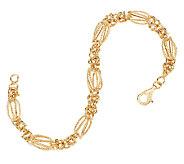 14K Gold 7-1/4 Byzantine Station Bracelet, 3.4g - J321764