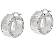 Vicenza Silver Sterling 3/4 Ribbed Pave Glitter Round Hoop Earrings - J322964