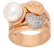 Honora Cultured Pearl 10.0mm and Crystal Love Bronze Ring - J323864