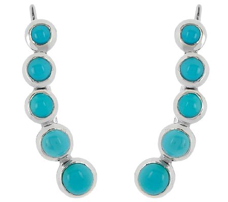 Sleeping Beauty Turquoise Sterl. Ear Climber Earring