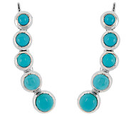 Sleeping Beauty Turquoise Sterling Silver Ear Climber Earrings - J324364