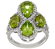 Graziela Gems Peridot & White Zircon Sterling Ring 3.90 cttw - J324564