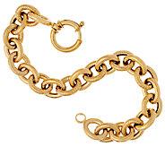 14K Gold 6-3/4 Textured & Polished Rolo Link Bracelet, 9.2g - J324664