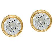Diamonique 3.00cttw Bezel Set Stud Earrings, 14K Gold - J324764