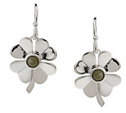 As Is Connemara Marble Sterling Silver 4 Leaf Clover Earrings - J326364
