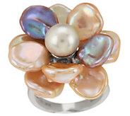 As Is Honora Cultured Pearl 9.0mm Petal Keshi Flower Sterling Ring - J326764