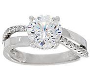 Diamonique Split Shank Bridal Ring, Platinum Clad - J329164