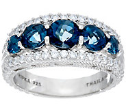 Judith Ripka Sterling 2.20 cttw Blue Topaz Tapered Ring - J330564