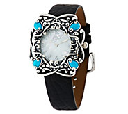 As Is Carolyn Pollack Sleeping Beauty Turquoise Sterling Watch - J330664