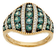 Alexandrite & Diamond Wide Band Domed Ring 14K Gold 1.20 cttw - J331064