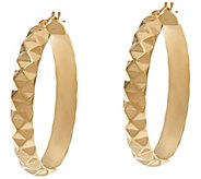 Dieci 1-1/2 Pyramid Design Oval Hoop Earrings 10K Gold - J332264
