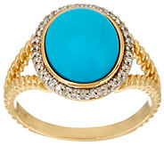 Sleeping Beauty Turquoise & Diamond Rope Design Ring 14K Gold - J334964