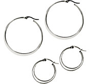 Stainless Steel Set of 2 Flat Edge Hoop Earrings - J335364