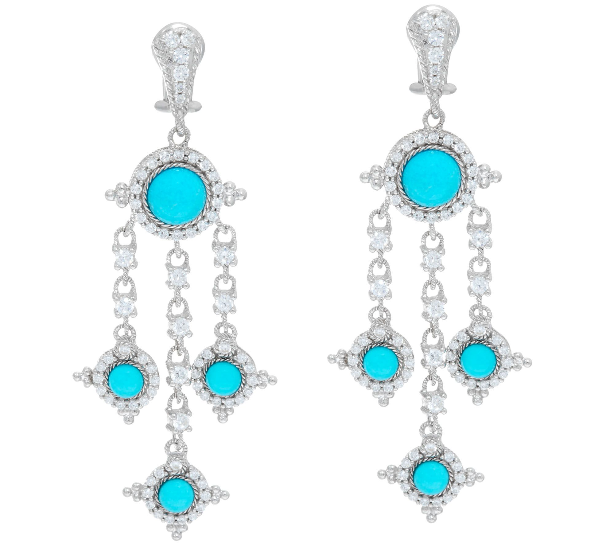 quot as is quot judith ripka sterling turquoise diamonique drop earrings qvc