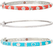 Lauren G. Adams Silvertone Colored Enamel Stack Bangles - J347464