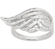 Baguette Diamond Angel Wing Ring Sterling, by Affinity - J347564