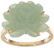 Burmese Jade Carved Flower Ring 14K Gold - J348164