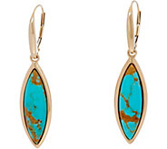 Golden Kingman Turquoise Marquise Lever Back Earrings, 14K - J349664